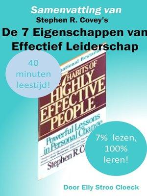 cover image of Samenvatting van Stephen R Covey's De 7 Eigenschappen van Effectief Leiderschap