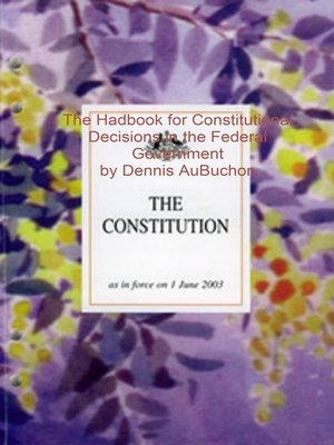 cover image of The Handbook for Constitutional Decisions in the Federal Government