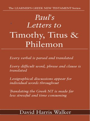 cover image of Paul's Letters to Timothy, Titus & Philemon