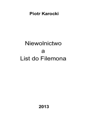 cover image of Niewolnictwo a List do Filemona