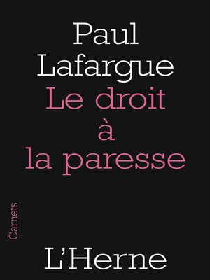 cover image of Le droit à la paresse