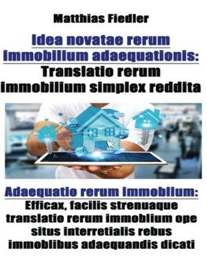 cover image of Idea novatae rerum immobilium adaequationis