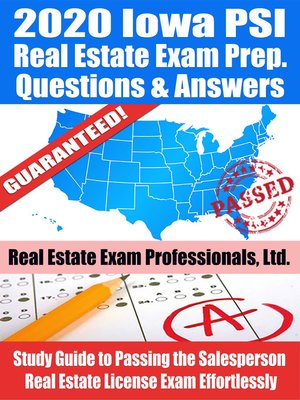 cover image of 2020 Iowa PSI Real Estate Exam Prep Questions & Answers