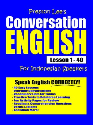cover image of Preston Lee's Conversation English For Indonesian Speakers Lesson 1