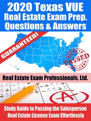 cover image of 2020 Texas VUE Real Estate Exam Prep Questions & Answers