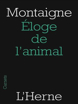 cover image of Éloge de l'animal