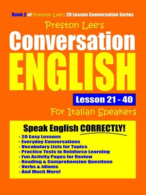 cover image of Preston Lee's Conversation English For Italian Speakers Lesson 21