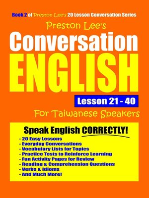 cover image of Preston Lee's Conversation English For Taiwanese Lesson 21