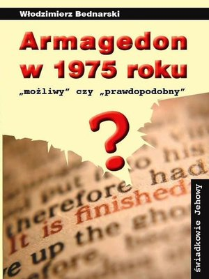cover image of Armagedon w 1975 roku