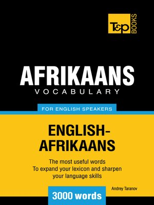 cover image of Afrikaans vocabulary for English speakers