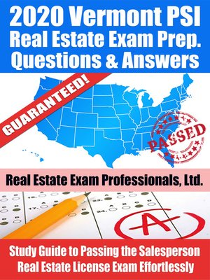 cover image of 2020 Vermont PSI Real Estate Exam Prep Questions & Answers