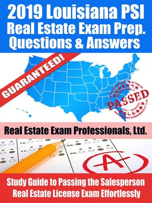 cover image of 2019 Louisiana PSI Real Estate Exam Prep Questions, Answers & Explanations