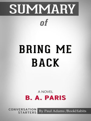 cover image of Summary of Bring Me Back