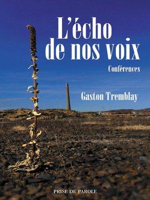 cover image of Écho de nos voix