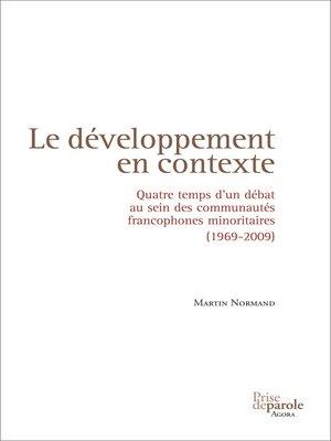 cover image of Développement en contexte