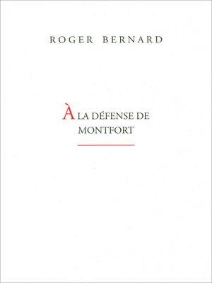 cover image of À la défense de Monfort