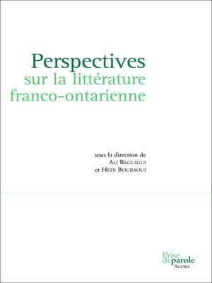 cover image of Perspectives sur la littérature franco-ontarienne