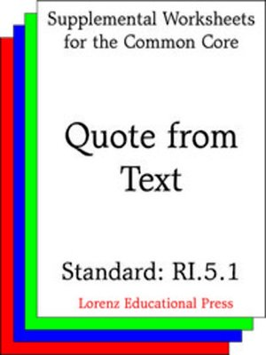 cover image of CCSS RI.5.1 Quote from Text