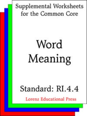 cover image of CCSS RI.4.4 Word Meaning