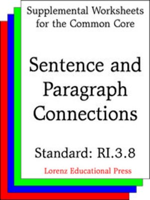 cover image of CCSS RI.3.8 Sentence and Paragraph Connections