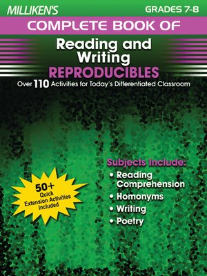 cover image of Milliken's Complete Book of Reading and Writing Reproducibles - Grades 7-8