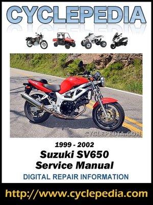 suzuki sv650 1999 2002 service manual by cyclepedia press llc rh overdrive com 2002 suzuki sv650s owners manual Windshield for 2002 Suzuki SV650