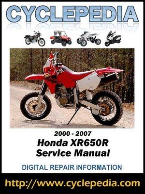 cover image of Honda XR650R 2000-2007 Service Manual