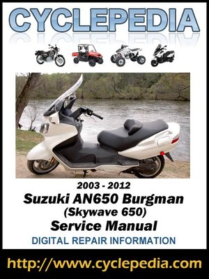suzuki an650 burgman skywave 650 2003 2012 service manual by rh overdrive com 2003 Suzuki Burgman 650 Specs 2003 burgman 650 owners manual