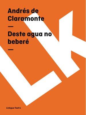 cover image of Deste agua no beberé