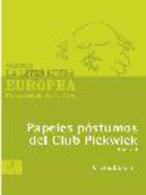 cover image of Papeles póstumos del Club Pickwick, Tomo 1