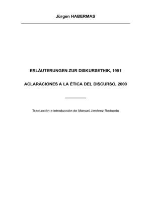 cover image of Aclaraciones a la Ética del Discurso, 2000