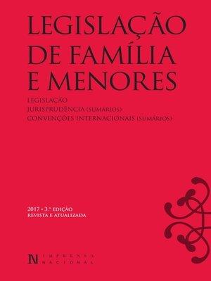 cover image of Legislação de Família e Menores – 3ª edição revista e atualizada