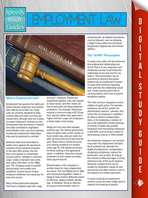 cover image of Employment Law