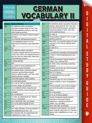 cover image of German Vocabulary II