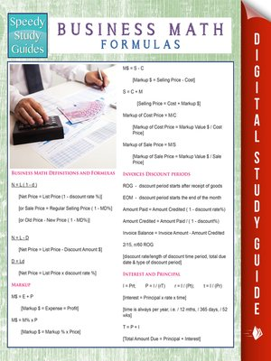 cover image of Business Math Formulas (Speedy Study Guides)