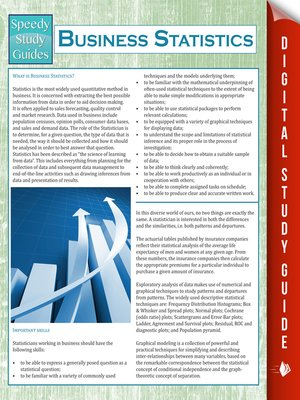 cover image of Business Statistics (Speedy Study Guides)
