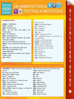 cover image of Instant Messaging Abbreviations, Texting and Emoticons