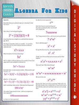 cover image of Algebra For Kids