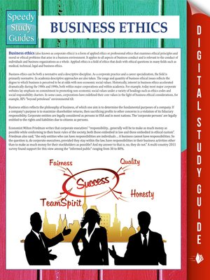 cover image of Business Ethics (Speedy Study Guides)