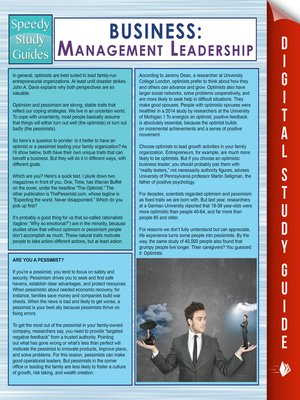 cover image of Business--Management Leadership (Speedy Study Guides)