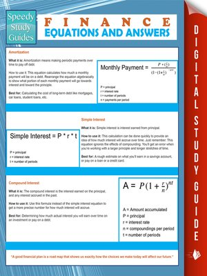 cover image of Finance Equations and Answers