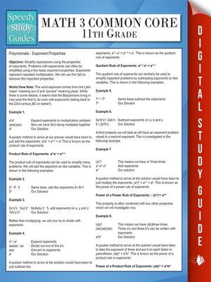cover image of Math 3 Common Core 11th Grade