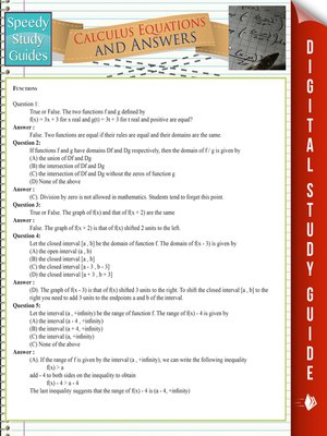cover image of Calculus Equations and Answers