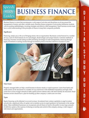 cover image of Business Finance (Speedy Study Guides)