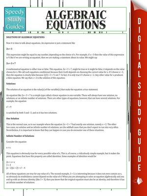 cover image of Algebraic Equations II