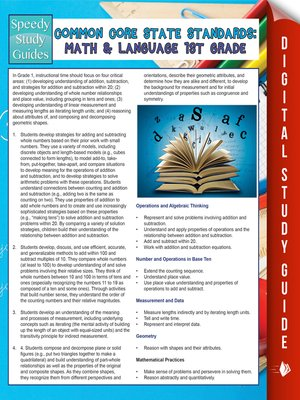 cover image of Common Core State Standards - Math and Language Arts, 1st Grade