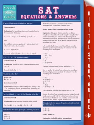 cover image of SAT Equations & Answers