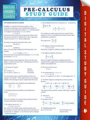 cover image of Pre-Calculus Study Guide
