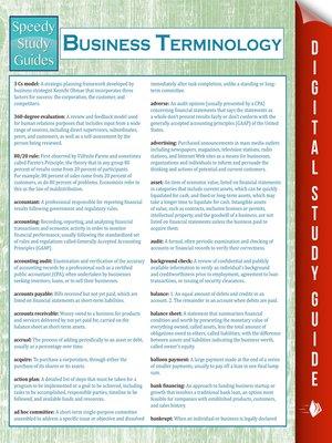 Business Terminology (Speedy Study Guides) by Speedy