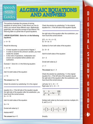 cover image of Algebraic Equations and Answers